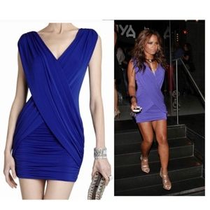 BCBGMaxAzria Blue Ruched Cocktail Dress Size Small